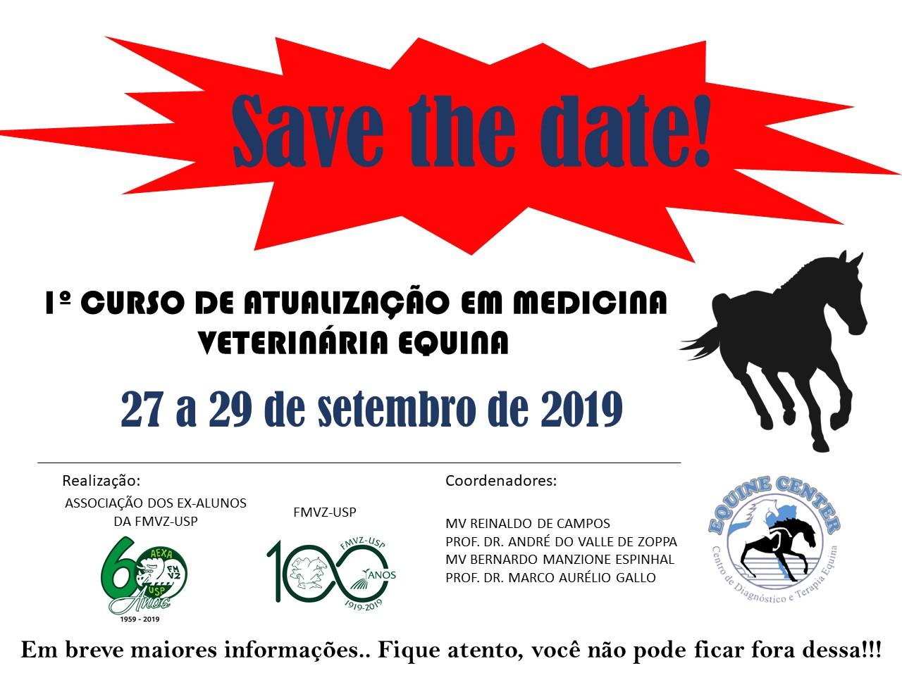 1º Curso de Atualização em Medicina Veterinária Equina (27 à 29 de setembro de 2019)
